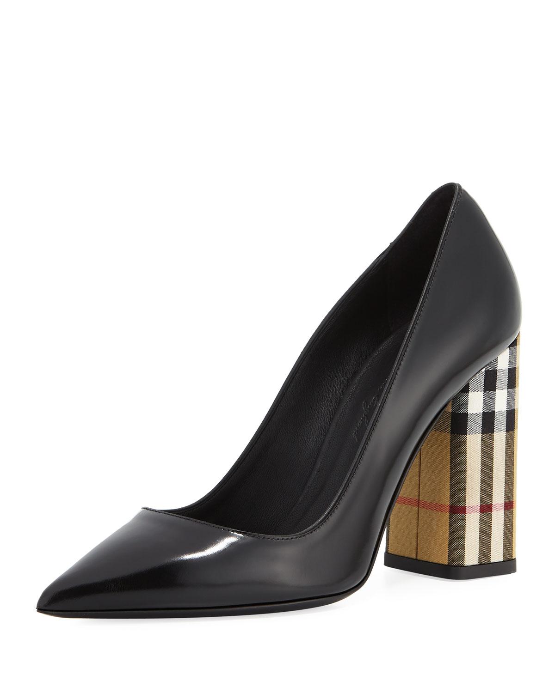 b5906a3f679 Burberry Dashwood Leather Check-Heel Pumps