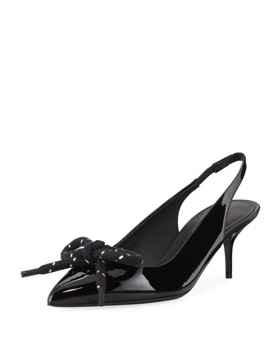 Rope-Bow Slingback Patent Pumps