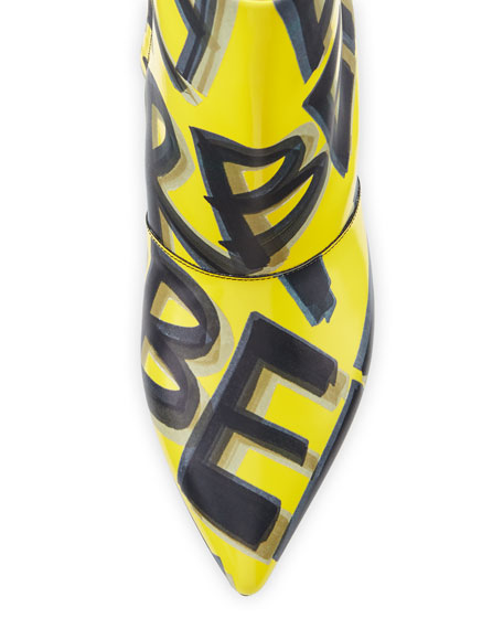 LF Wilsbeck Marker Graffiti Booties, Vibrant Yellow