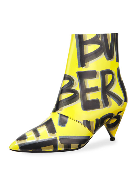 Burberry LF Wilsbeck Marker Graffiti Booties, Vibrant Yellow