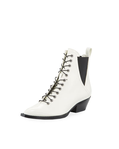 Spazzolato Leather Lace-Up Booties
