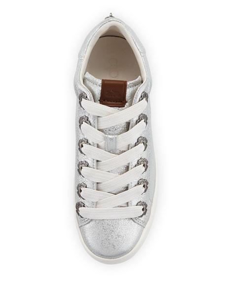 C101 Metallic Leather Low-Top Sneakers