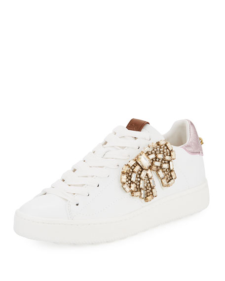 Coach C101 Crystal-Bow Low-Top Sneakers
