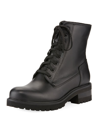 Caterina Leather Lace-Up Combat Boots