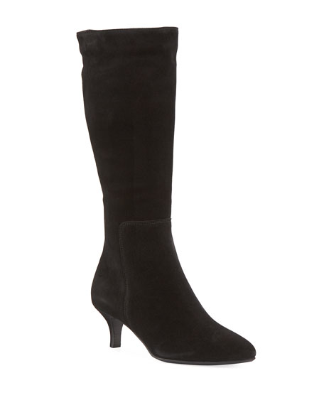 LA CANADIENNE Dora Suede Pointy-Toe Mid-Calf Boots in Black