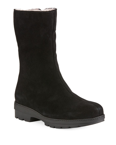 LA CANADIENNE Vogue Waterproof Suede Mid-Calf Boots in Black