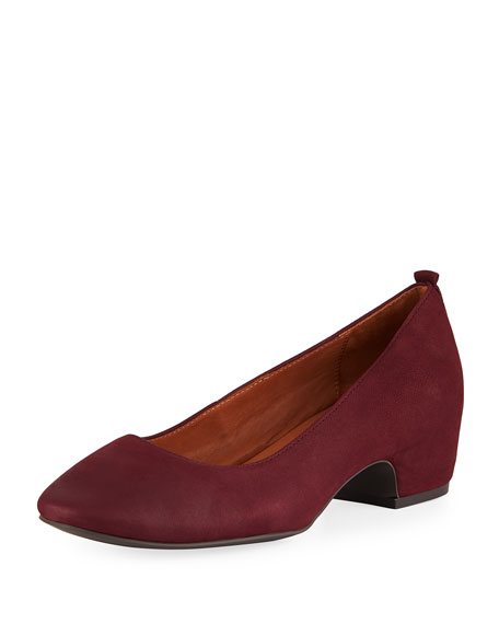 Priscille Nubuck Leather Low-Heel Pumps, Plum