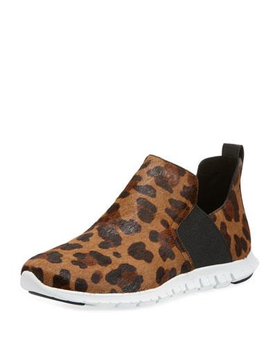ZeroGrand Ocelot-Print Slip-On Sneaker Booties
