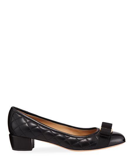 VaraQ Quilted Bow Ballet Pumps