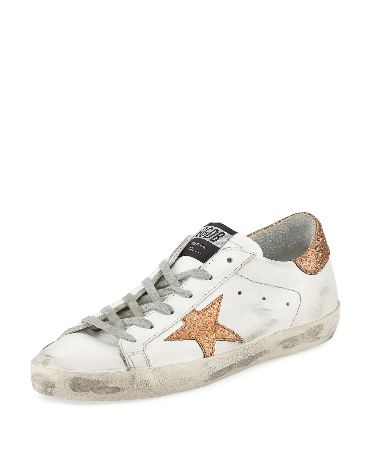 422edca3741 Golden GooseSuperstar Leather Low-Top Platform Sneaker with Glitter Star