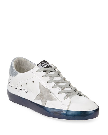 """Superstar """"Love Me For"""" Leather Low-Top Platform Sneaker with Suede Star"""