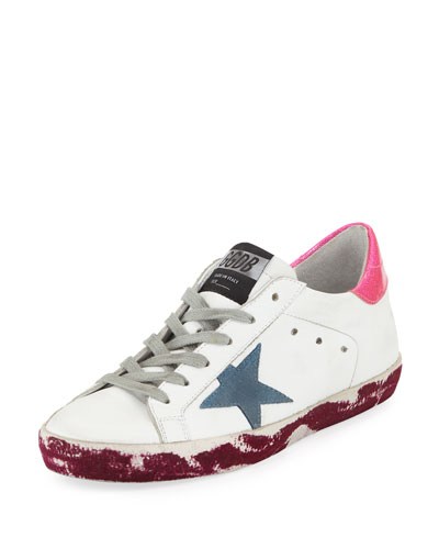 Superstar Paint-Leather Low-Top Platform Sneaker with Suede Star