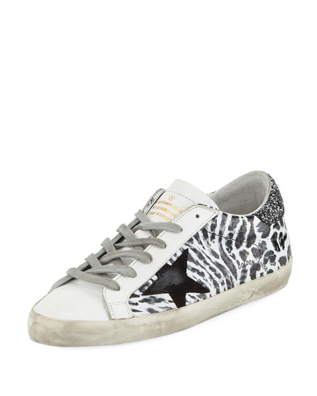 Superstar Smudge-Print Leather Platform Sneaker