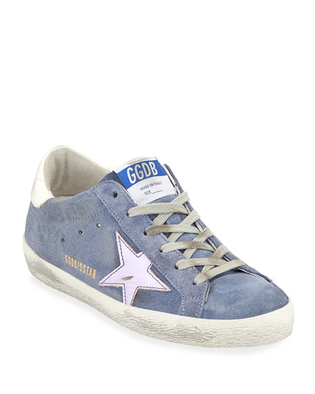 Superstar Suede Platform Low-Top Sneaker With Leather Star, Denim
