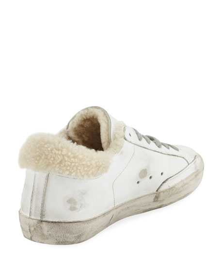 Superstar Leather Platform Low-Top Sneakers with Fur