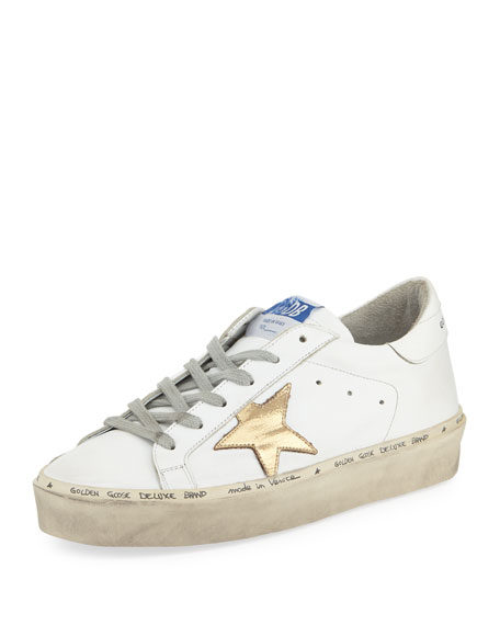 HI STAR WHITE GOLD LEATHER SNEAKERS