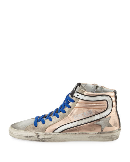 Slide Metallic Leather High-Top Sneaker