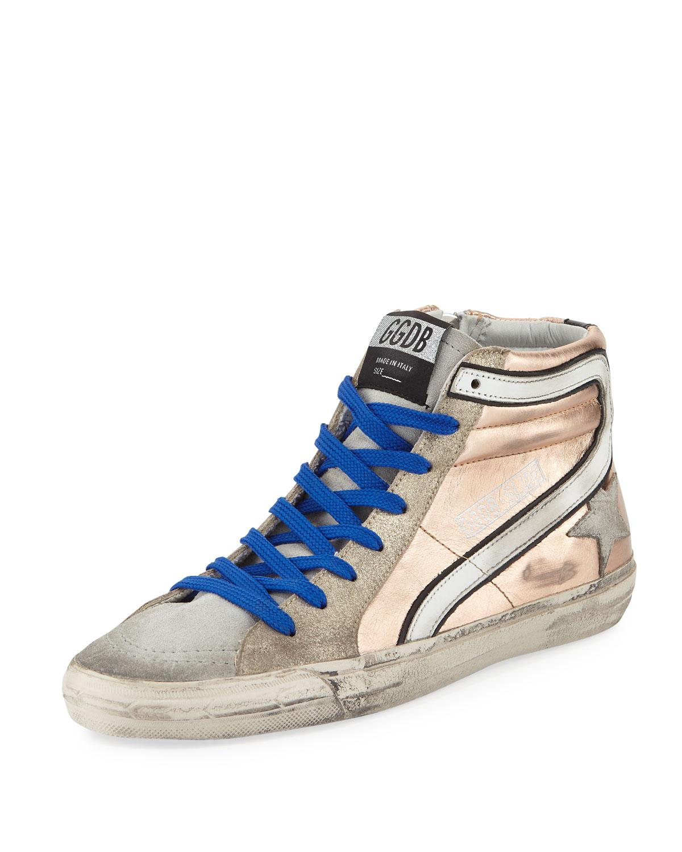 Golden Goose Slide Metallic Leather High Top Sneaker