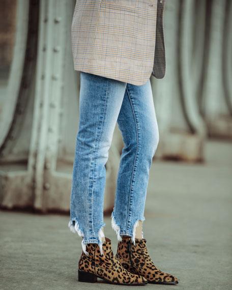 Tanner Low-Heel Leopard-Print Booties
