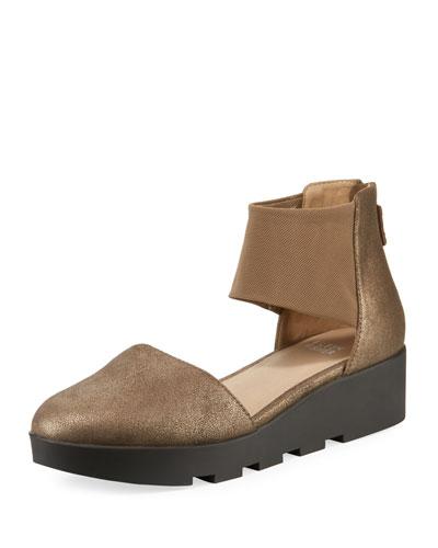 Mesh Metallic Leather Platform Comfort Sandals