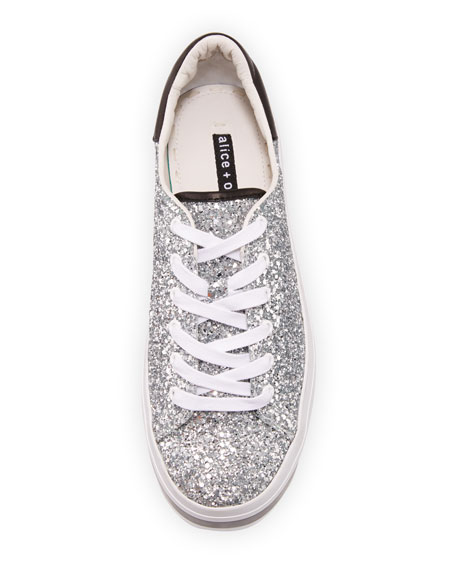 Ezra Platform Glitter Low-Top Sneakers
