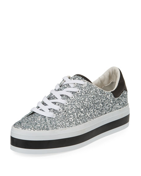 ALICE+OLIVIA Ezra Glitter Leather Platform Sneakers JzCHN5HRD