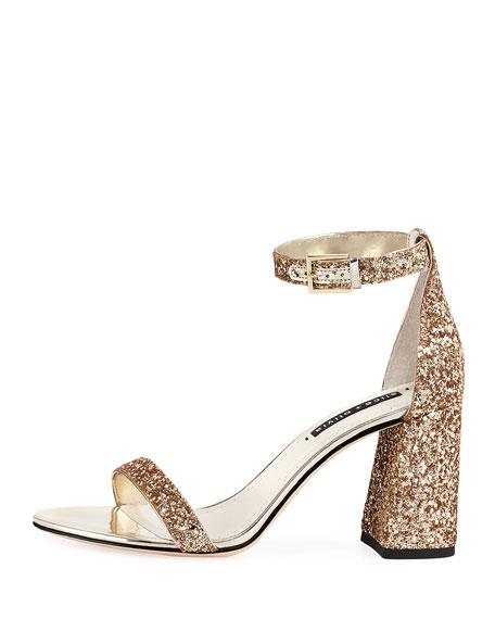 Lillian Glitter Block-Heel Sandal