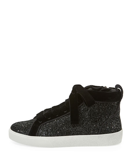 Camil Glitter and Velvet Mid-Top Sneakers