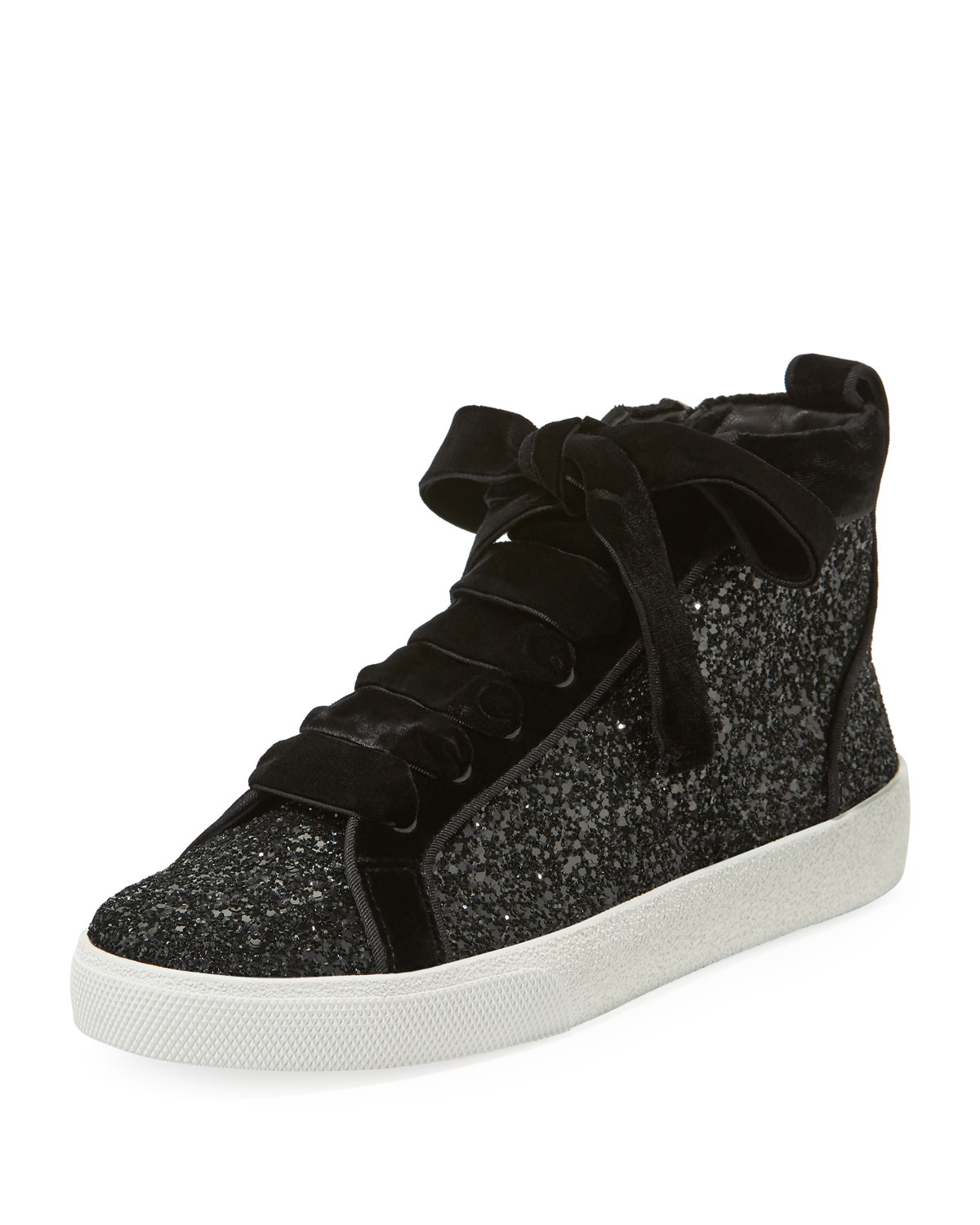 3b79739fc9f Alice + Olivia Camil Glitter and Velvet Mid-Top Sneakers