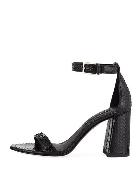Lillian Snake-Print Block-Heel Sandal