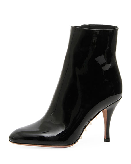 Rockstud Patent Leather Ankle Boots - Black Size 9