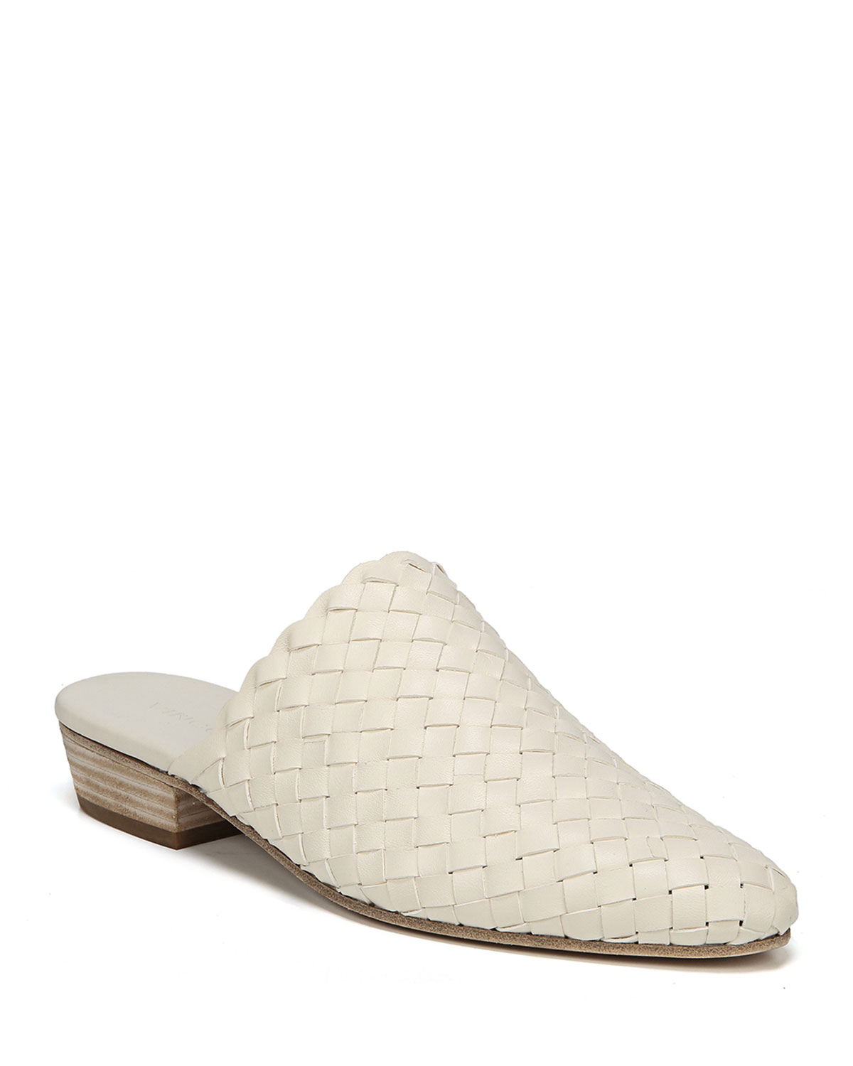 Vince Galena Woven Leather Leather Woven Flat Mules 67adac
