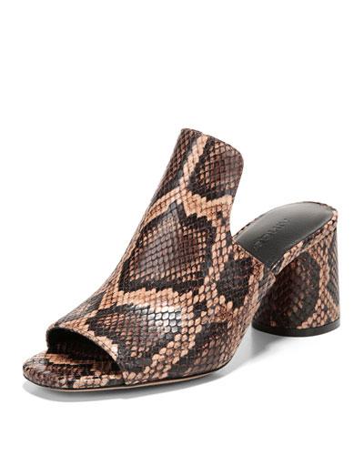 Tanay Snake-Print Slide Sandal