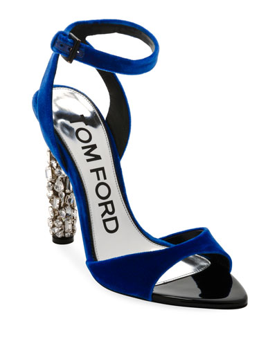 Velvet Ankle-Strap Sandal with Crystal Heel