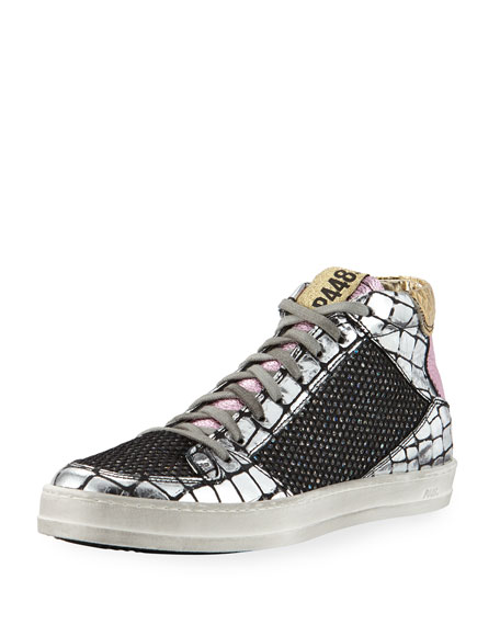Queens Mid-Top Sneakers in Croco Leather & Glitter Mesh