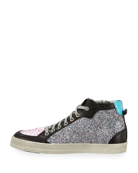 Love Glitter & Leather High-Top Sneakers