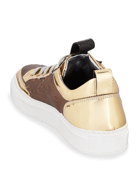 Soho Mixed Media Low-Top Sneakers with Sequins