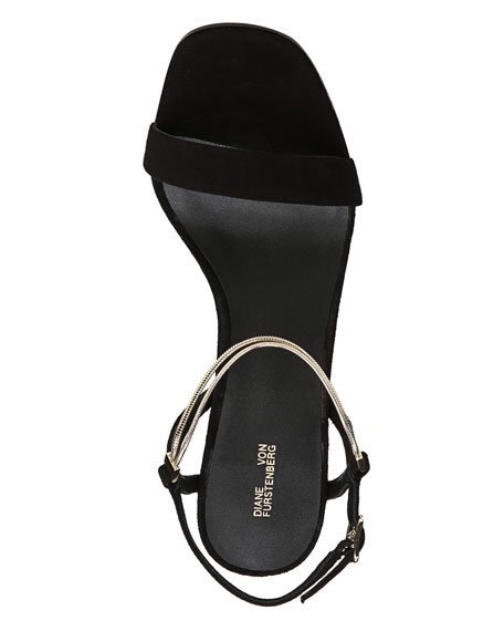 Frankie Suede Sandal with Chain Strap