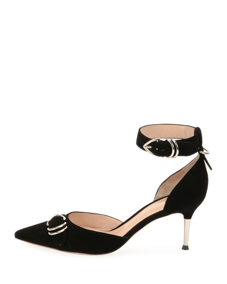 Suede Ankle-Strap d'Orsay Pumps