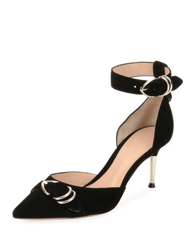 Suede Ankle-Strap d'Orsay Pump