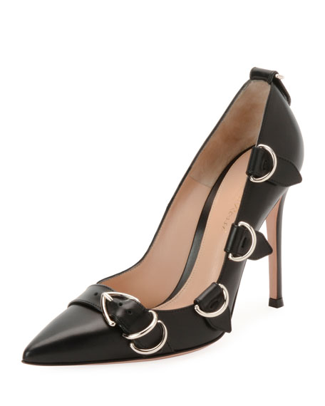 Leather Buckle-Strap Pointed High Pump