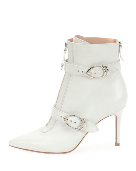 Joan Buckle Leather Ankle Booties