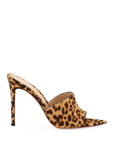 Leopard-Print Calf Hair Open-Toe Mule