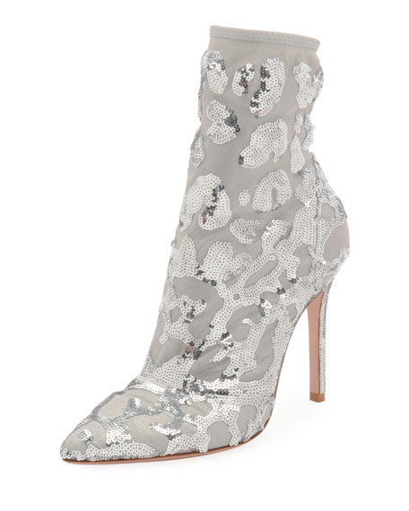 Sequined Mesh Ankle Bootie