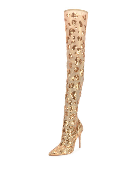 Sequined Over-The-Knee Metallic Mesh Boot