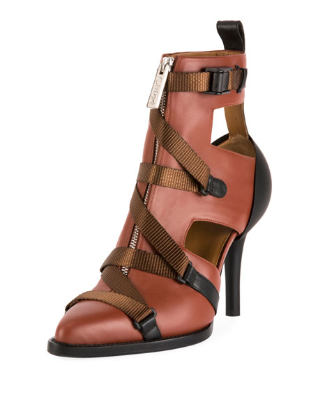 Tracy Colorblock Strappy Front-Zip Ankle Boot