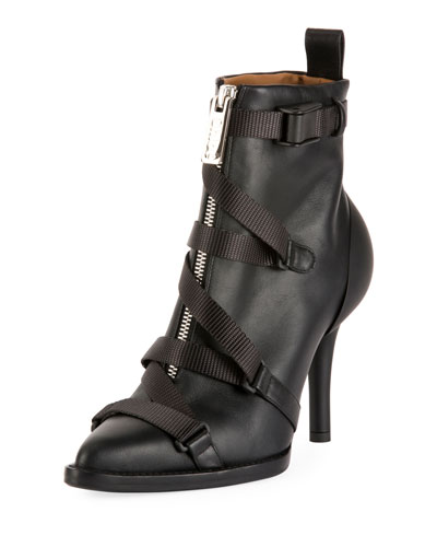 Tracy Strappy Front-Zip Ankle Boot