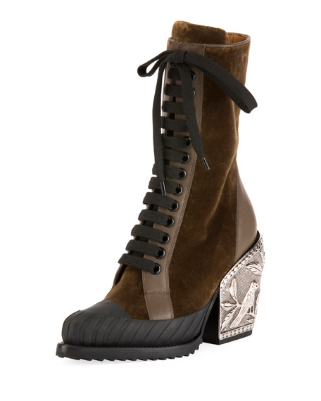 Chloe Rylee Metal-Heel Lace-Up Combat Boot
