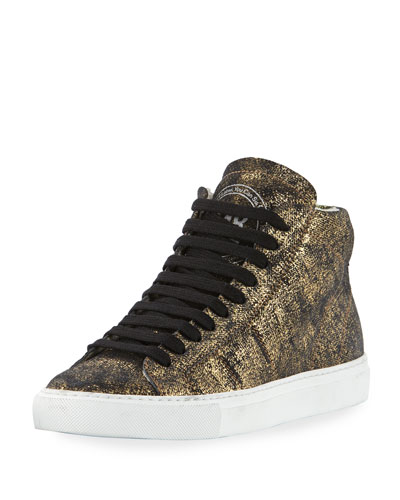 Star Metallic Leather High-Top Sneaker