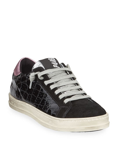 John Croc-Embossed Leather Low-Top Sneaker